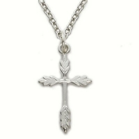Sterling Silver 3/4 Women Wheat Cross Necklace on 18 Chain