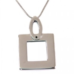 Square Pendant Necklace Stainless Steel Unisex Polished Finish 16 by Bucasi