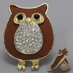 DR - Animal Owl Ring, Stretchable, 1 1/4W, 1 3/4L / Stretchable. Gold & Brown with Stones