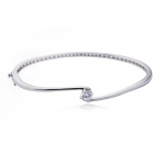 Rhodium Plated Sterling Silver 5.5mm Cubic Zirconia Bangle Bracelet, 7.25