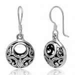 925 Oxidized Sterling Silver Bali Inspired Open Filigree Circle Dangle Hook Earrings Jewelry for Women - Nickel Free