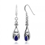 925 Oxidized Sterling Silver Deep Blue Lapis Lazuli Gemstone Inlay Bali Inspired Filigree Dangle Hook Earrings Fashion Jewelry for Women - Nickel Free