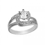 CZ Engagement Ring-White Gold Filled 6mm Cubic Zirconia Solitaire Bypass Ring-Size 11 by GemGem Jewelry