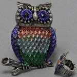 DR - Animal Owl Ring, Stretchable, 1 W, 1 1/2 L, Silver / Blue/ Green/ Brown