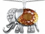 Original Star K(tm) Large 12x10mm Oval Simulated Imperial Yellow Topaz Good Luck Elephant Pendant in 925 Sterling Silver