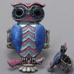 DR - Animal Multi Color Rhinestone Owl Ring, Stretchable, with Stones, 3/4 W, 1 1/2 L , Silver, Blue & Pink