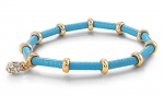 Stretchable Mini Crystal Ball Pendant Bracelet with Gold Ring Accent -Color : Turquoise - Bracelet Diameter : 3.30mm