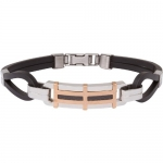 Heirloom Finds Men's Stainless Steel Bracelet Rose Gold Plate Rubber and Carbon Fiber Inlay