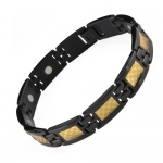 Willis Judd New Mens Black Titanium Magnetic Bracelet with Gold Carbon Fiber Insets Free Link Removal Tool