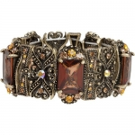 Heirloom Finds Victorian Style Bracelet with Topaz Brown Gems Amber Champagne Crystal Accents