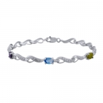 Rhodium Plated Sterling Silver Multi-Gemstone and Diamond Accent Bracelet 7.25