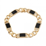 18k Yellow Gold Plated Sterling Silver Onyx and Cubic Zirconia Men's Bracelet, 8.5