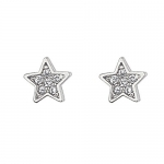 .925 Sterling Silver Rhodium Plated Star CZ Stud Earrings with Screw-back for Children & Women