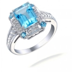 2.50 CT Swiss Blue Topaz & Diamond Ring In White Gold