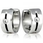 6mm Stainless Steel Cubic Zirconia Slit Huggie Hoop Earrings