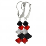 2 Red Black and White Faceted Crystal Dangle Hook Earrings For Women