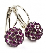 Small 3/4 Hoop Earrings with 10 mm Sparkling Purple Austrian Crystal Ball/Fireball Earrings - White Gold Overlay