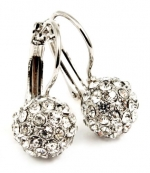 Small 3/4 Hoop Earrings with 10 mm Austrian Crystal Ball/Fireball Earrings - White Gold Overlay