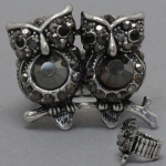 Silver & Jet Black Double Owl Ring, Stretchable, with Rhinestones, Animal/Bird Jewelry
