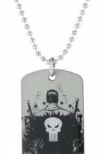 Marvel Comics Punisher Dog Tag Men's Silver Pendant Necklace