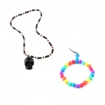 2-In-One Price-Organic Skull Necklace w/ Stretchable Buddah Bracelet - Multi Color