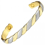 Brand New Womens Magnetic Fashion Bangle with a gold and brushed finish. Free gift pouch.