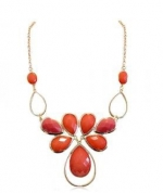 Gold Tone Coral Color Crystal Bib Necklace for Women