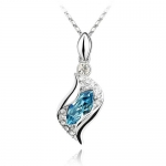 Blue Crystal Pendant, Elegant & Fashionable Women Necklace, 18K White Gold Plated, Free 18 Chain - SUPER NICE