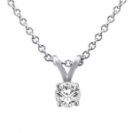 Sterling Silver Round Solitaire Diamond Pendant (1/5 cttw, G-H/SI1-I2)