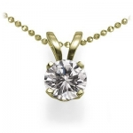 14K Yellow Gold Round Solitaire Diamond Pendant (1/5 cttw, G-H/SI1-I2)