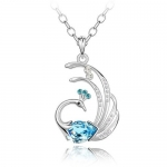 Blue Crystal Peacock Pendant, Women Sweater Necklace, 18K White Gold Plated, with Free 24 Chain