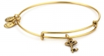 Alex and Ani Bangle Bar Skeleton Key Gold-Color Charm Bracelet