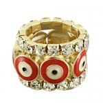 Gold Plated Fashion Stretch Ring With Red Evil Eye in Center and Clear Crystals - One Size Fits Most