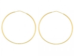 14K Yellow Gold 1mm Thickness High Polished Elegant Endless Hoop Earrings (1.8 or 45mm Diameter)