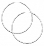 14K White Gold 2mm Thickness High Polished Large Endless Hoop Earrings (1.8 or 45mm Diameter)