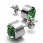KONOV Jewelry Stainless Steel Cubic Zirconia Unisex Mens Stud Earrings Set, 2pcs, Color Silver Green