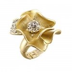 Classy Vintage Style Matte Gold Plated Flower Ring with White Crystal Accents - One Size Fits most