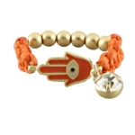 Small Fashion Hamsa Stretch Ring With With Gold Beads, Orange Cord and Crystal Accent - One Size