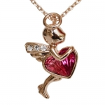 Fashion Plaza 18k Gold Plated Flying Angel Red Use Swarovski Crystal Necklace N72