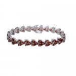 18 CT Garnet Bracelet In Sterling Silver 7.5 Inches (22 Grams)