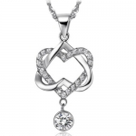 Rhodium White Gold Plated 925 Silver Heart in Heart Pendant Necklace with Solitaire Cubic Zirconia Pave Heart