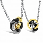 Titanium Stainless Steel Necklace for Couples Forever Interlocking Triple Ring Pendant Rhinestone Accents, Pair