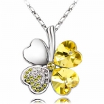 Rhodium Plated Austrian Crystal Four Leaf Clover Pendant Necklace Heart Shape Yellow Topaz Crystal