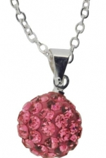 Pink Pave Bead Disco Ball Swarovski Crystal Pendant with 16 Sterling Silver Chain, Lowest Price for a Limited of Time, #22
