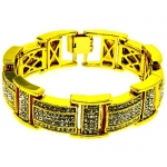 Men's Bling King Bracelet - White Iced Out -24k Gold Plated - Bling gb50