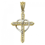 24K Gold/Sterling Silver 1 2-Tone Cross Necklace w/Cubic Zirconia Stones and Heart on 18 Chain