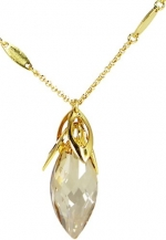Oval Shaped Budding Flower Swarovski Elements Crystal Pendant Necklace W. 18k Gold Plated Chain Yellow Topaz