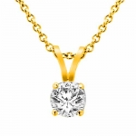 18K Yellow Gold Round Solitaire Diamond Pendant (5/8 ctw, G-H/SI1-I2)