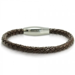 Braided Brown Leather Mens Bracelet 6 mm 8 1/4 inches with Magnetic Stainless Steel Clasp
