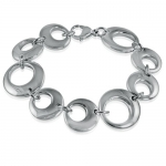 Laidies 7 inch Stainless Steel-Silver Tone Circle Bracelet